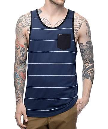 RVCA Change Up camiseta sin mangas a rayas en azul marino y blanco