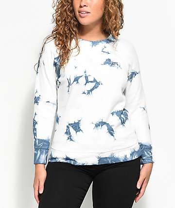 RVCA Clouded Fleece Blue Crew Neck Sweatshirt