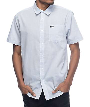 RVCA Curren White & Blue Stripe Short Sleeve Button Up Shirt