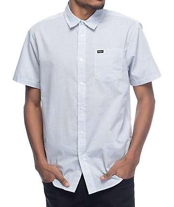 RVCA Curren White & Blue Stripe Short Sleeve Button Up Shirt