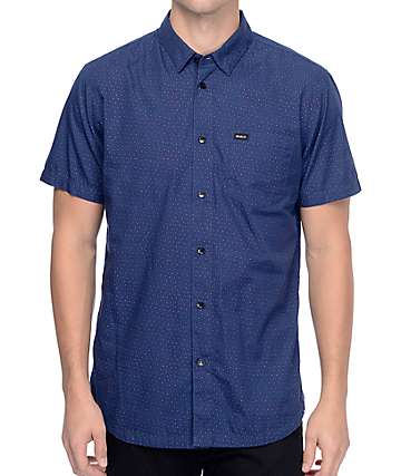 RVCA Daisy Dot Woven Navy Button Up Shirt