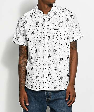RVCA Dark Floral White Woven Button Up Shirt