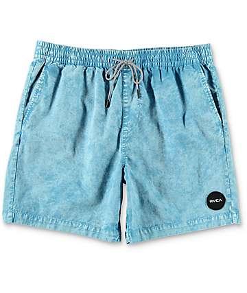 RVCA Fade shorts híbridos elásticos en azul claro