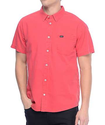 RVCA Front Lawn Bright Red Woven Button Up Shirt