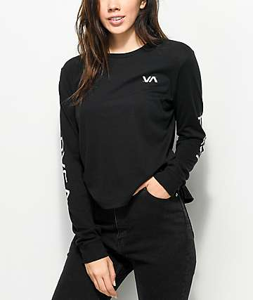 RVCA Glitch Black Long Sleeve T-Shirt