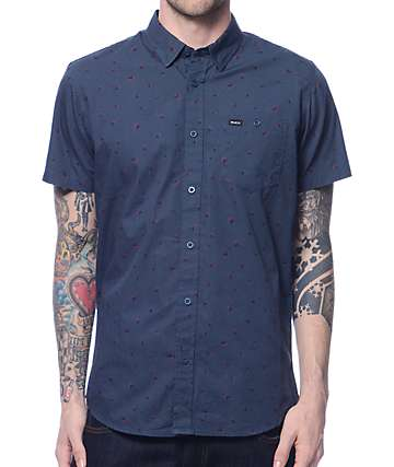 RVCA Growth Decay Navy Button Up Shirt