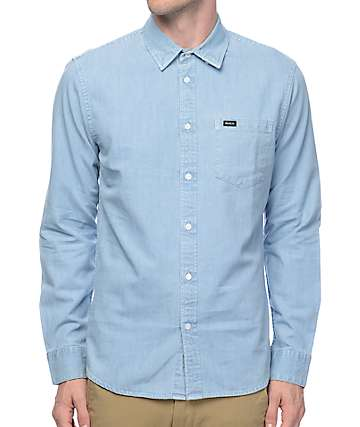 RVCA Johnny Light Blue Denim Long Sleeve Button Up Shirt