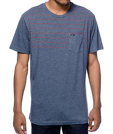 RVCA Level Navy Stripe Pocket T-Shirt