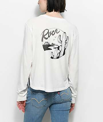 RVCA Motel Vintage White Long Sleeve T-Shirt