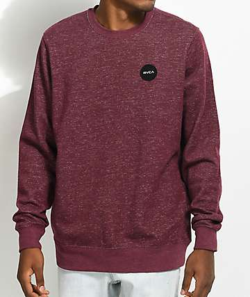 RVCA Motors Burgundy Speckle Crew Neck Sweatshirt