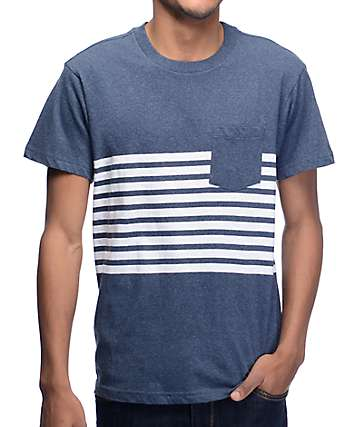 RVCA New Sins Navy & White Striped Pocket T-Shirt