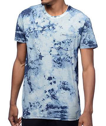 RVCA PTC Indigo Bleach Dye Striped T-Shirt