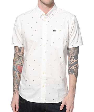 RVCA Particle Theory White Button Up Shirt