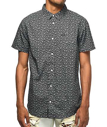 RVCA Porcelain Black Floral Short Sleeve Button Up Shirt
