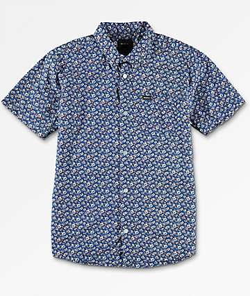 RVCA Porcelain camisa azul tejida para niños