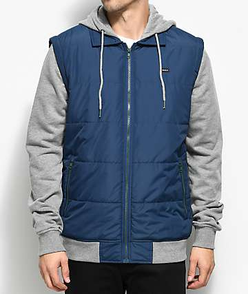 RVCA Puffer 2Fer Navy, Green & Grey Hooded Jacket