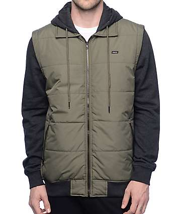 RVCA Puffer Green & Black Vest Hoodie