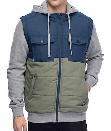 RVCA Puffer Tones 2fer chaqueta en azul marino y color olivo
