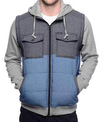 RVCA Puffer Wayward Grey, Blue & Charcoal Vest Hoodie