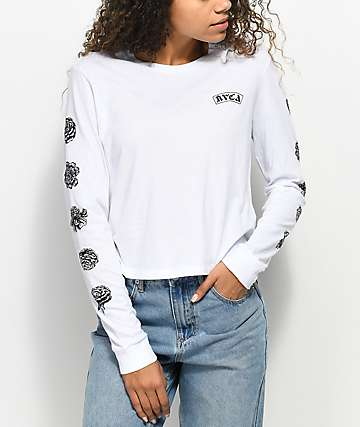 RVCA Rose White Long Sleeve T-Shirt