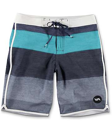 RVCA Sessions Blue, Teal & White Striped Board Shorts