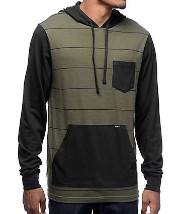 RVCA Set Up Olive & Black Striped Hooded Long Sleeve T-Shirt