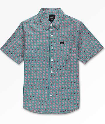 RVCA Simon camisa tejida en verde azulado para niños
