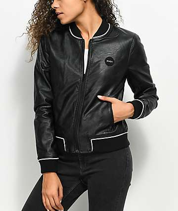 RVCA Slow Jam Black Leather Bomber Jacket
