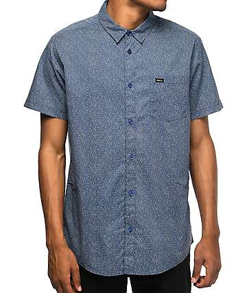 RVCA Speckles Navy & White Dot Button Up Shirt