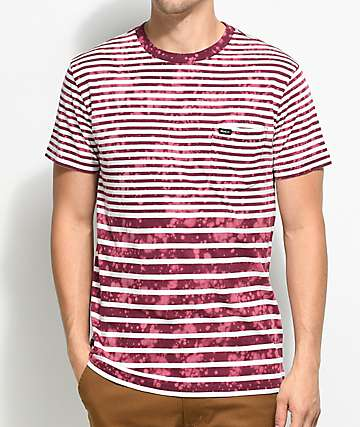 RVCA Splash Burgundy & White Stripe Pocket T-Shirt
