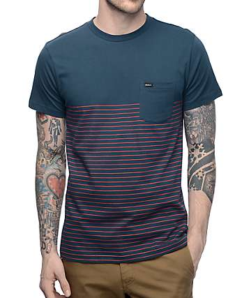 RVCA Switch Up Red & Navy Stripe Pocket T-Shirt