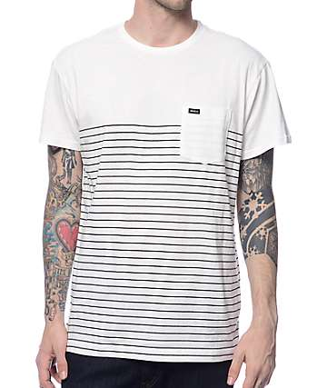 RVCA Switch Up White & Black Striped T-Shirt