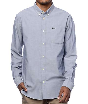 RVCA That'll Do Blue Long Sleeve Button Up Shirt