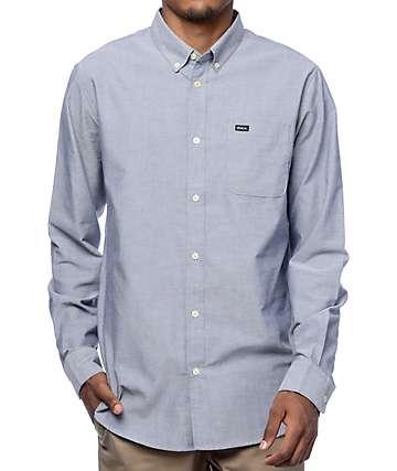 RVCA That'll Do Blue Long Sleeve Button Up Shirt