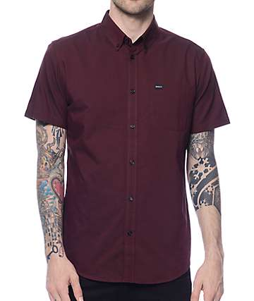 RVCA That'll Do Burgundy Oxford Shirt