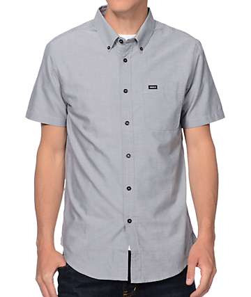 RVCA That'll Do Charcoal Oxford Button Up Shirt