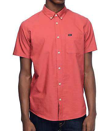 RVCA That'll Do Oxford Red Woven Button Up Shirt
