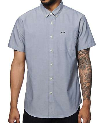 RVCA Thatll Do Blue Short Sleeve Button Up Shirt