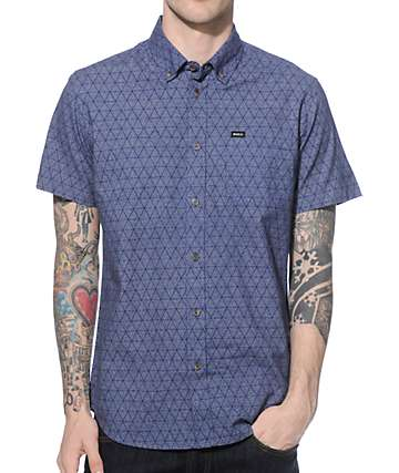RVCA Thatll Do Cones Blue Button Up Shirt