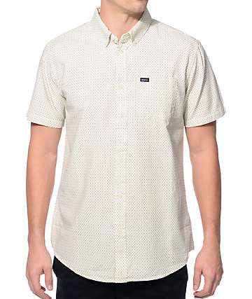 RVCA Thatll Do Crosses Vintage White Button Up Shirt