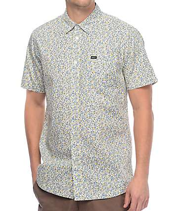 RVCA Top Poppy White Floral Button Up Shirt