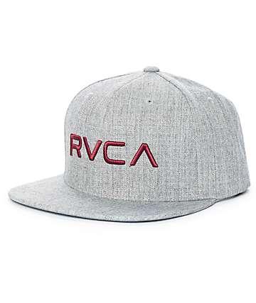 RVCA Twill III Heather Grey Snapback Hat