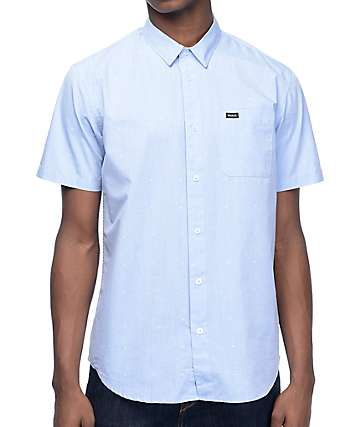 RVCA VA Dobby Light Blue Woven Button Up Shirt