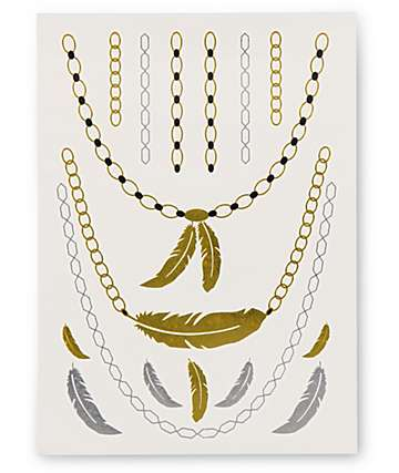 Rad Tatz Metallic Feathers & Chains Temporary Tattoos
