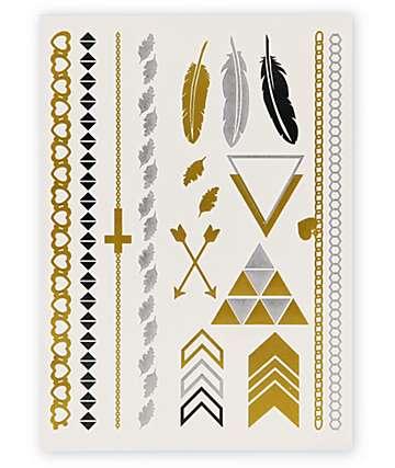 Rad Tatz Metallic Feathers & Triangles Temporary Tattoos