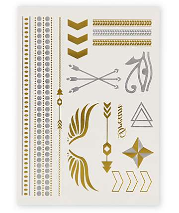Rad Tatz Metallic Wings & Pharaoh Temporary Tattoos