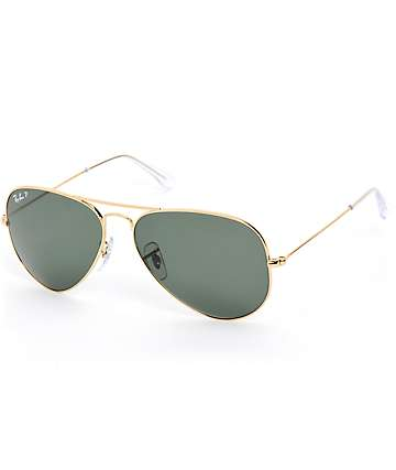 Ray-Ban Aviator Large Crystal Green Polarized Sunglasses