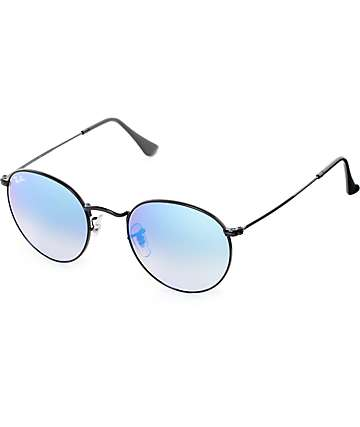 Ray-Ban Round Shiny Blue Mirror Sunglasses