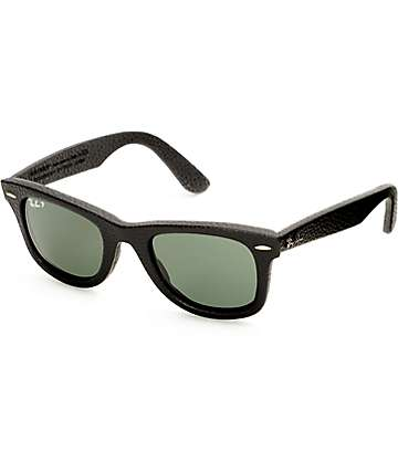 Ray-Ban Wayfarer Black Leather Sunglasses