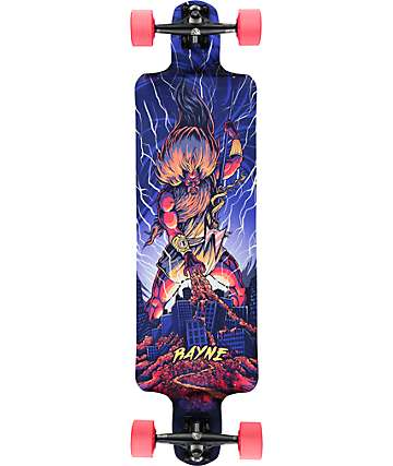 "Rayne Reaper Blue God 37.5"" Drop Down Longboard Complete"